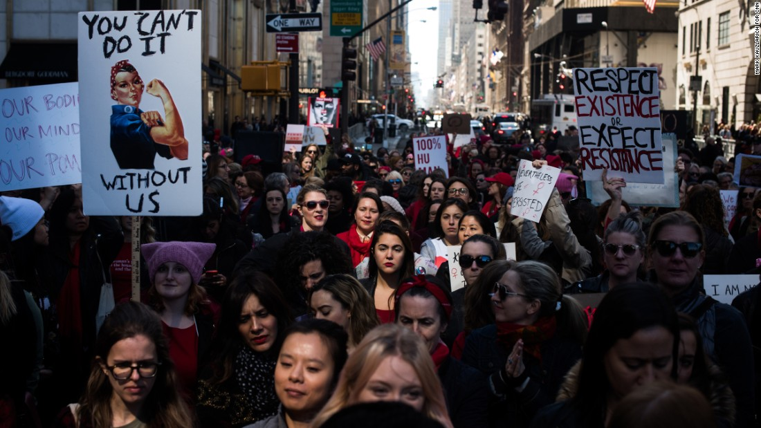 Demonstrators fill a barricaded space along New York's Fifth Avenue during an International Women's Day rally on Wednesday, March 8. Events have been scheduled around the world to celebrate women's accomplishments and call attention to women's issues.