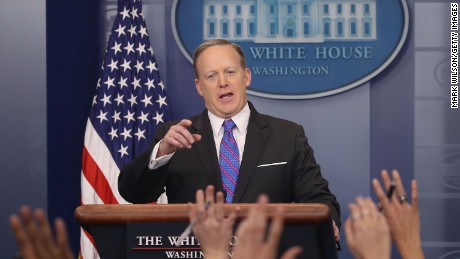 White House Press Secretary Sean Spicer speaks to the media during his daily briefing March 8, 2017.