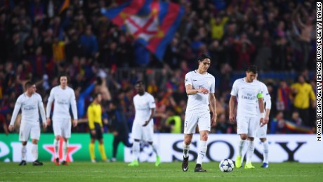 PSG players look dejected after Barca secured a remarkable win.