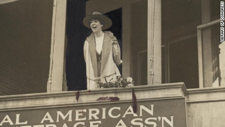 Jeannette Rankin, of Montana, speaking from the balcony of the National American Woman Suffrage Association, Monday, April 2, 1917.