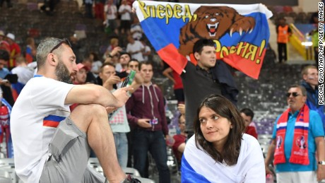 Russia fans look dejected after Russia's 3-0 loss to Wales in a Euro 2016 Group B match.