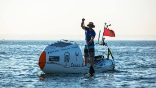 World-first as man crosses Atlantic Ocean unaided on paddle board