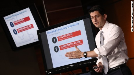 US Speaker of the House Paul Ryan explains the Republican plan to replace the Affordable Care Act during his weekly press conference at the US Capitol March 9, 2017 in Washington, DC.