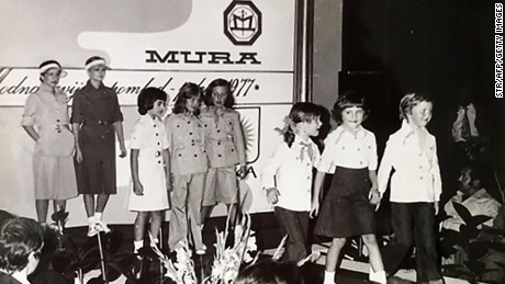 This picture provided by courtesy of Nena Bedek and taken in 1977 in Radenci, northeastern Slovenia, shows Melania as a child attending a fashion review.