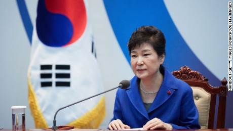 SEOUL, SOUTH KOREA - DECEMBER 09:  In this handout photo released by the South Korean Presidential Blue House, South Korea's President Park Geun-Hye attends the emergency cabinet meeting at the presidential office on December 9, 2016 in Seoul, South Korea. The South Korean National Assembly voted for an impeachment motion at its plenary session, which will set up the rare impeachment trial for President Park over the accusation of corruption involving Park and her long time confidante.  (Photo by South Korean Presidential Blue House via Getty Images)