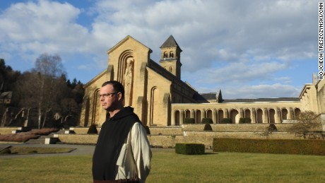 Brother Xavier, CNN's guide, in the courtyard of Orval.