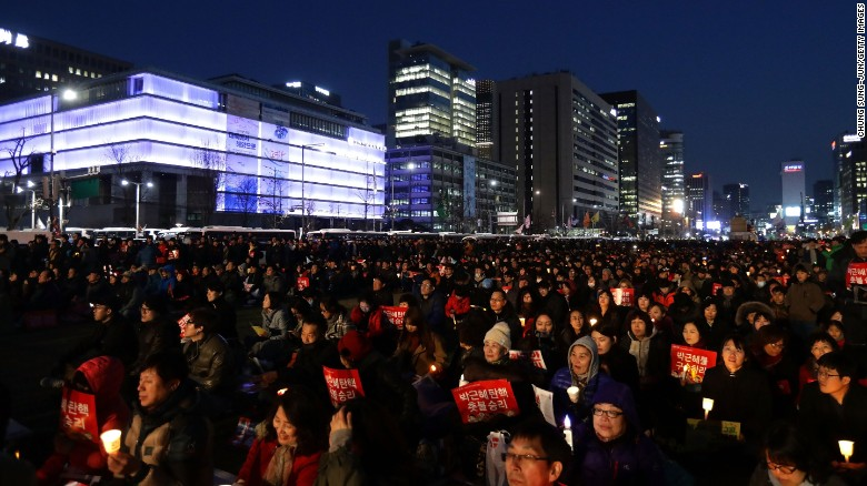"South Koreans celebrate in Seoul after the Constitutional Court <a href=""http://www.cnn.com/2017/03/10/asia/south-korea-president-park-geun-hye-impeachment/index.html"" target=""_blank"">upheld a parliamentary vote</a> to impeach President Park Geun-hye on Friday, March 10. Demonstrators both for and against Park took to the streets after the verdict."