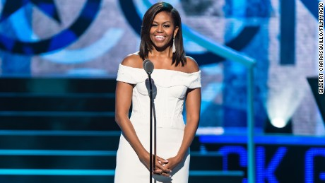 Then-First Lady of the United States Michelle Obama speaks onstage during 2015 'Black Girls Rock!' BET Special at NJ Performing Arts Center on March 28, 2015 in Newark, New Jersey.