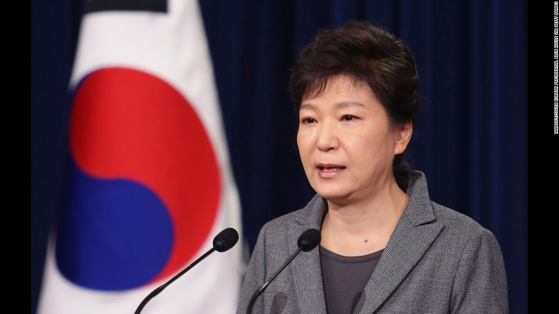"Park sheds tears as she addresses the nation on the <a href=""http://www.cnn.com/2016/04/14/asia/sewol-recovery-plan/"">Sewol ferry disaster</a> in May 2014. Park was criticized for her handling of the tragedy as it became apparent during the investigation that the ferry's sinking was a man-made disaster."