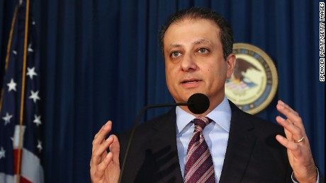 Preet Bharara, U.S. attorney for the Southern District of New York, speaks at a news conference where it was announced that two former pharmaceutical executives are facing federal criminal charges over a fraud and kickback scheme on November 17, 2016 in New York City.