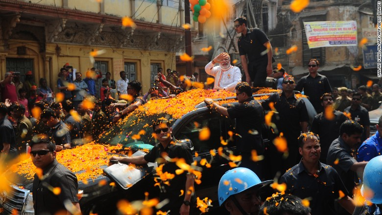 Indian Prime Minister Narendra Modi during a roadshow in support of state assembly election party candidates in Varanasi on March 4.