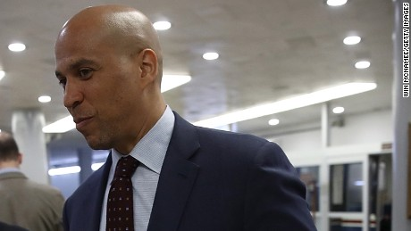 Sen. Cory Booker arrives for the confirmation vote of Wilbur Ross for the position of Secretary of Commerce at the U.S. Capitol on February 27, 2017 in Washington, DC.