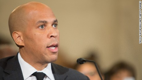 Senator Cory Booker (D-NJ) testifies before the Senate Judiciary Committee hearing on nomination of Senator Jeff Sessions (R-AL) for attorney general on Capitol Hill in Washington, DC on January 11, 2017.