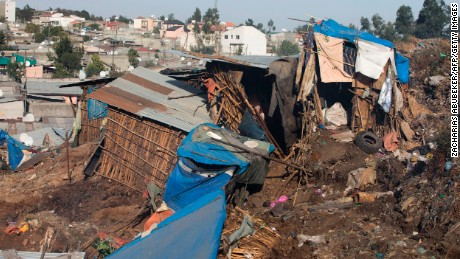 Makeshift dwellings crumbled in the landslide, which took place late Saturday evening.