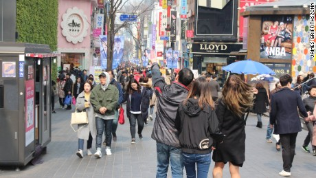 In Myeongdong on March 12, 2017, shopkeepers said the numbers of Chinese tourists were down.