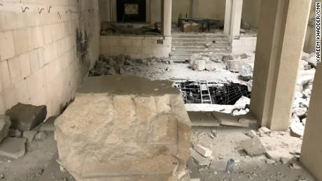 Empty stone pedestal lies in the middle of the Mosul museum. ISIS destroyed many statues and artifacts on February of 2015.