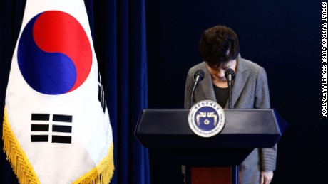 SEOUL, SOUTH KOREA - NOVEMBER 29:  South Korean President Park Geun-Hye bows during an address to the nation, at the presidential Blue House in Seoul on November 29, 2016. South Korea's scandal-hit President Park Geun-Hye said Tuesday she was willing to stand down early and would let parliament decide on her fate.  (Photo by Jeon Heon-Kyun-Pool/Getty Images)