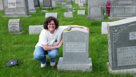 Stacy Silver by her mother's graveside.