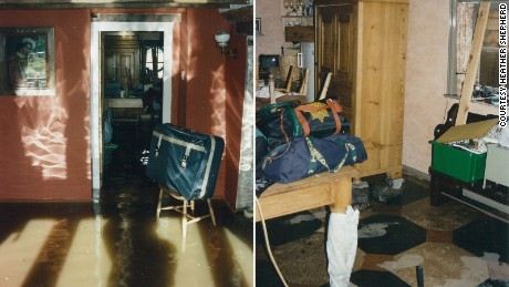Furniture was piled high to be out of reach of water entering the house.