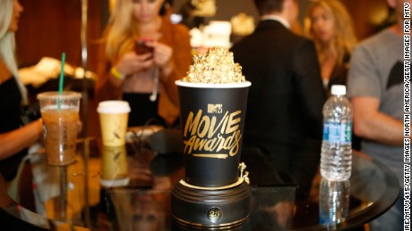 A view of MTV's Golden Popcorn award.