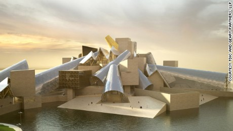 While construction is yet to begin for the Guggenheim Abu Dhabi, designed by Frank Gehry, it is part of a larger complex of cultural institutions being built on Saadiyat Island to attract international tourists. It will showcase art from the 1960s and onwards.