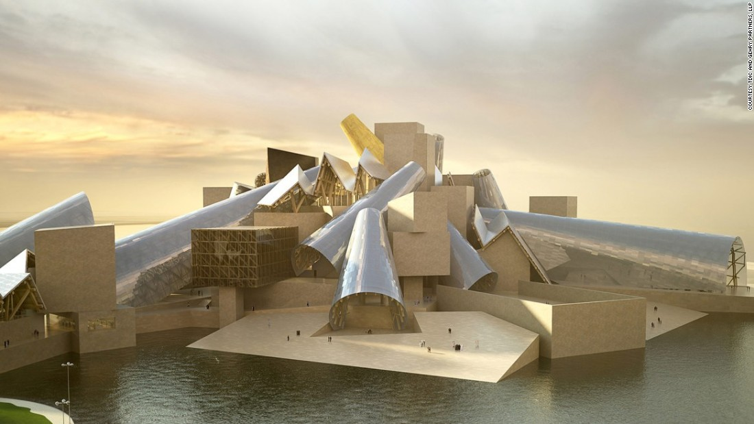 While construction is yet to begin on the Guggenheim Abu Dhabi, designed by Frank Gehry, it is part of a larger complex of cultural institutions being built on Saadiyat Island to attract tourists. It will showcase art from the 1960s and onwards.