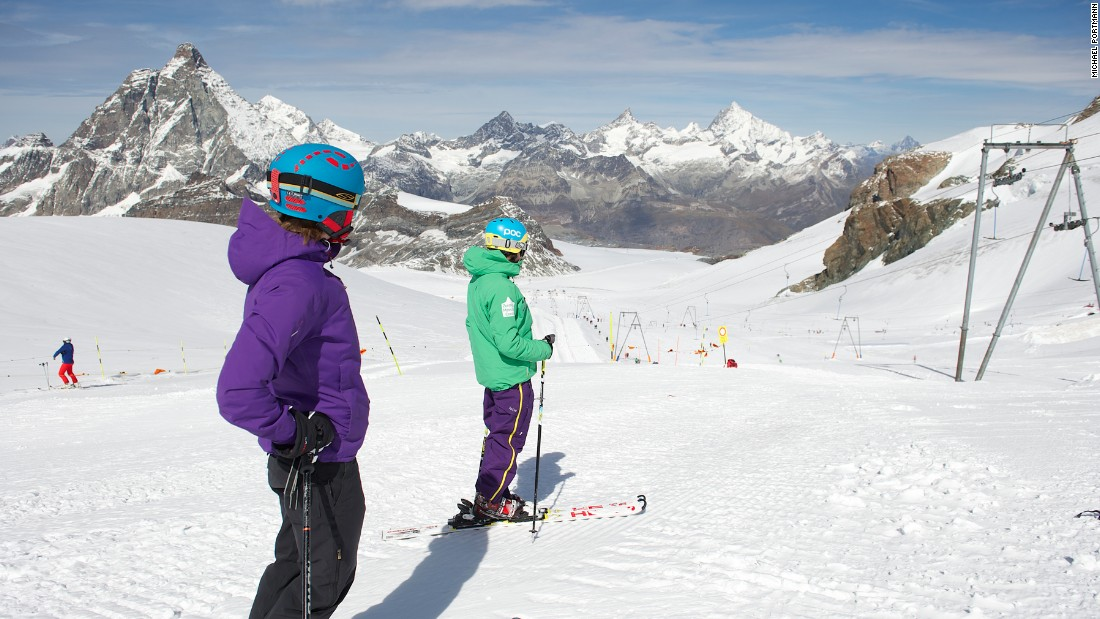 Zermatt's summer skiing takes place on the Theodul glacier under the watchful eye of the majestic Matterhorn. It is a favorite of race-training camps and international ski teams.