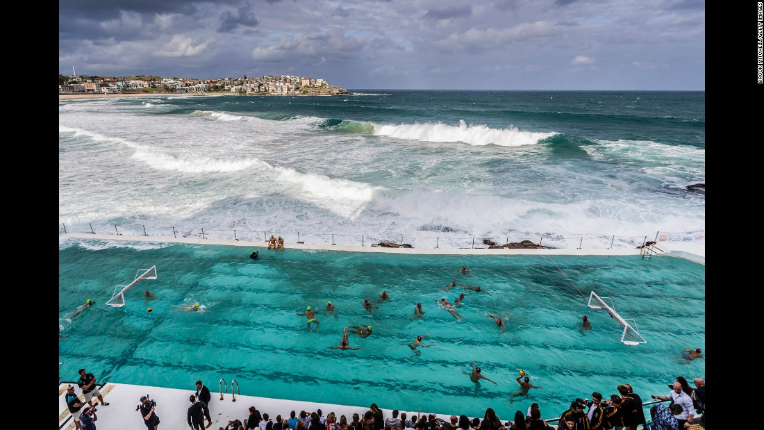 Australia's water polo team warms up for an exhibition match at Sydney's Bondi Beach on Thursday, March 9.