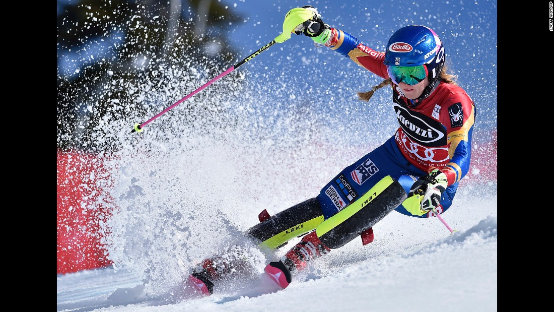 American skier Mikaela Shiffrin competes in the slalom at the World Cup event in Squaw Valley, California, on Saturday, March 11. Shiffrin won and clinched her fourth slalom title in five seasons.