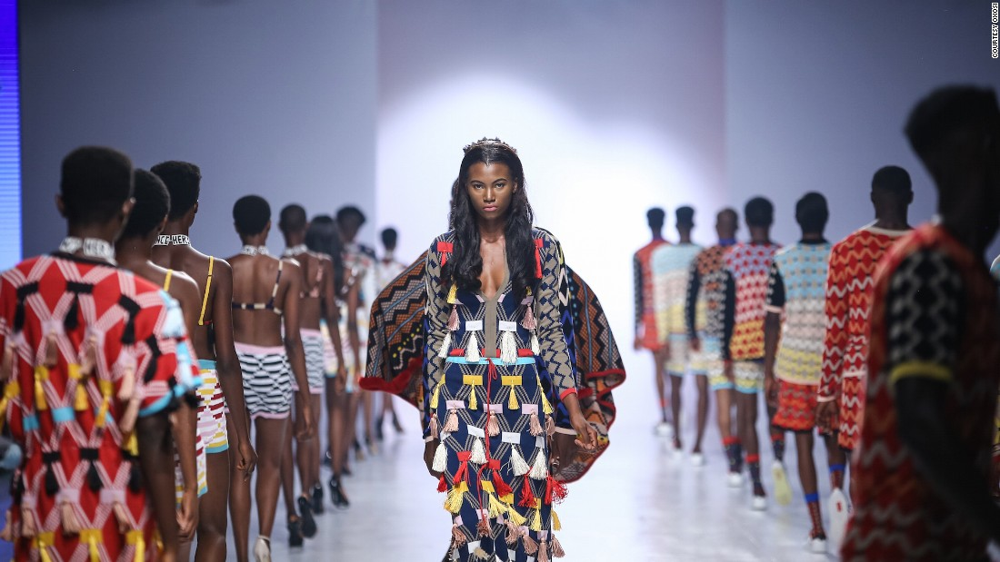 Platforms such as OXOSI, Dress Me Outlet and ONYCHEK say they aim to make African fashion global.  <br /><br />Pictured: South Africa's Laduma Ngxokolo's collection, the 31-year-old designer behind MaXhosa, at Lagos Fashion & Design Week 2016.