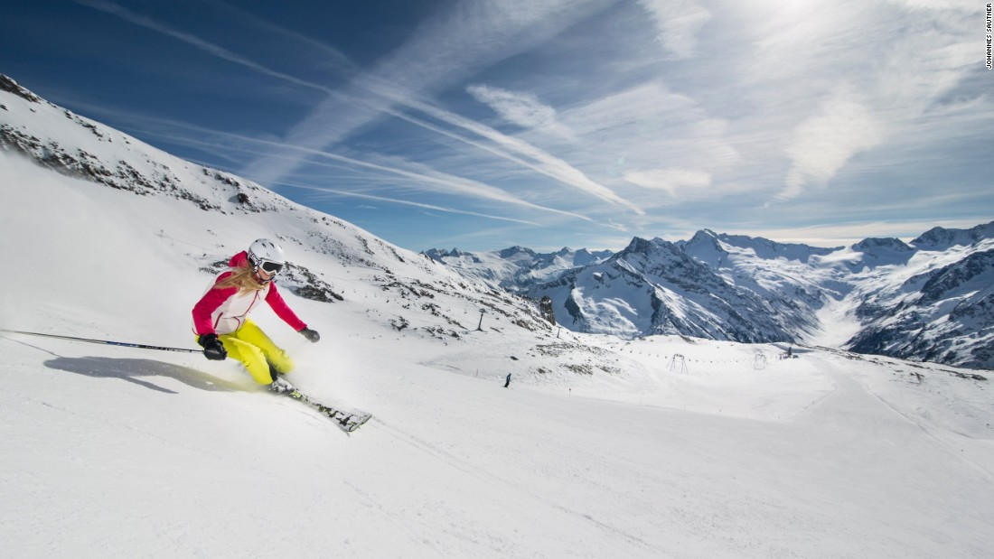 The Hintertux glacier at the head of the Ziller valley south-east of Innsbruck is open 365 days a year. It is one of the world's premier summer skiing spots with up to 18 kilometers of skiing above 3,000 meters.