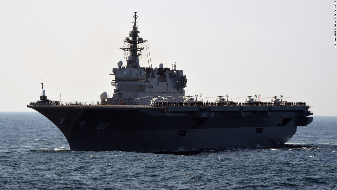<strong>Japan's Maritime Self-Defense Force helicopter destroyer Izumo takes part in a fleet review off Sagami Bay in October  2015. Helicopter destroyers combine with Japanese subs to give Tokyo exceptional anti-submarine warfare capabilities.</strong>