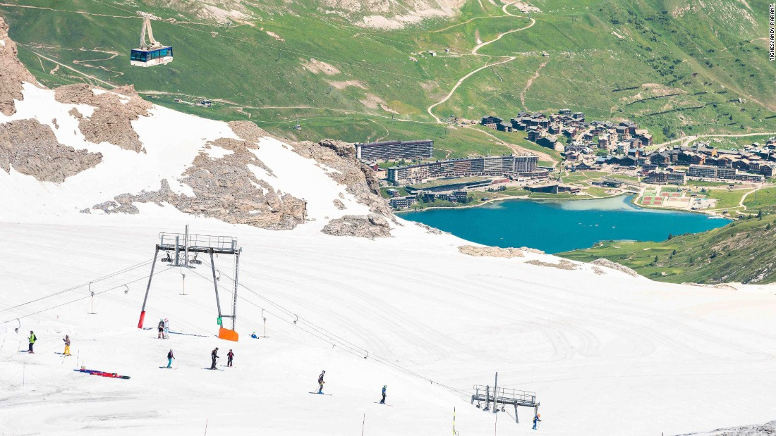 The Grande Motte glacier above Tignes hosts skiing and boarding up to 3,456 meters in summer, with the option of launching down ramps into the lake to perfect freestyle technique in the afternoon.