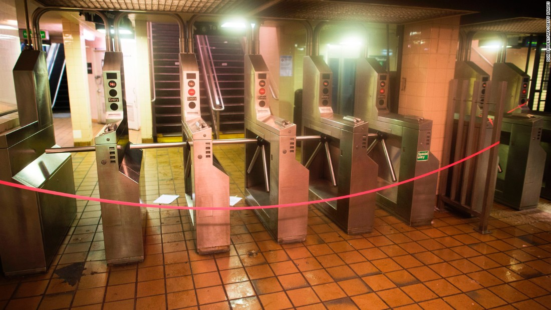 A subway station that services an above-ground train is closed in New York on March 14.