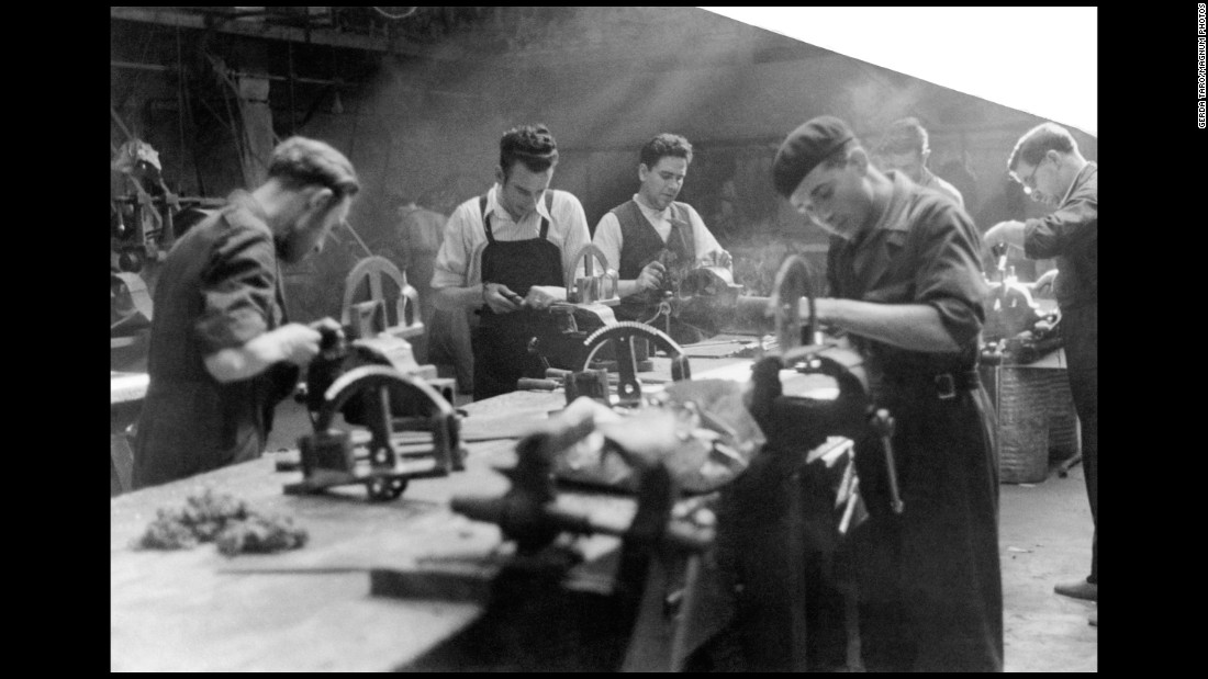 Men work in a munitions factory in Madrid in June 1937. The Spanish Civil War lasted nearly three years, with about half a million people killed before Franco's forces prevailed.