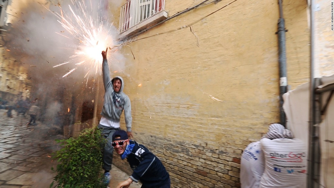 "<strong>Festa del Soccorso, Italy --</strong> Not unlike Spain's annual ""Running of the Bulls"" festival, the Festa del Soccorso in Puglia, Italy, sees participants running through the streets. Instead of bulls, though, they're chased by exploding firecrackers hanging from a canopy of wires."