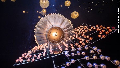 Myanmar balloon festival: Gentler pyrotechnics.