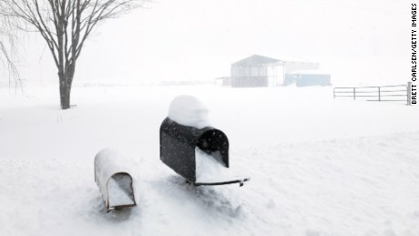 Snow piles up to the mailboxes Tuesday outside Union Dale, Pennsylvania.
