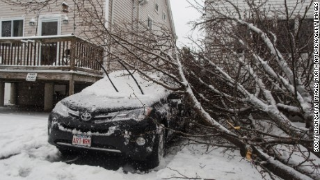 REVERE, MA - MARCH 14:  A downed tree on top of a car on Chamberlain Ave as Winter Storm Stella bears down on March 14, 2017 in Revere, Massachusetts.  (Photo by Scott Eisen/Getty Images)