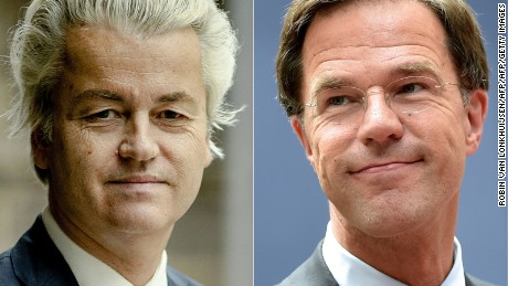 (COMBO) This combination of pictures created on March 13, 2017 shows Dutch politician Geert Wilders (L), leader of the Freedom Party (PVV), posing for a portrait in The Hague on March 2, 2017, and Netherland's Prime minister and People's Party for Freedom and Democracy leader Mark Rutte arriving before an EU summit meeting on June 28, 2016 at the European Union headquarters in Brussels.   The general election of The Netherlands is going to take place on March 15, 2017. / AFP PHOTO / ANP AND AFP PHOTO / Robin van Lonkhuijsen AND PHILIPPE HUGUEN        (Photo credit should read ROBIN VAN LONKHUIJSEN,PHILIPPE HUGUEN/AFP/Getty Images)