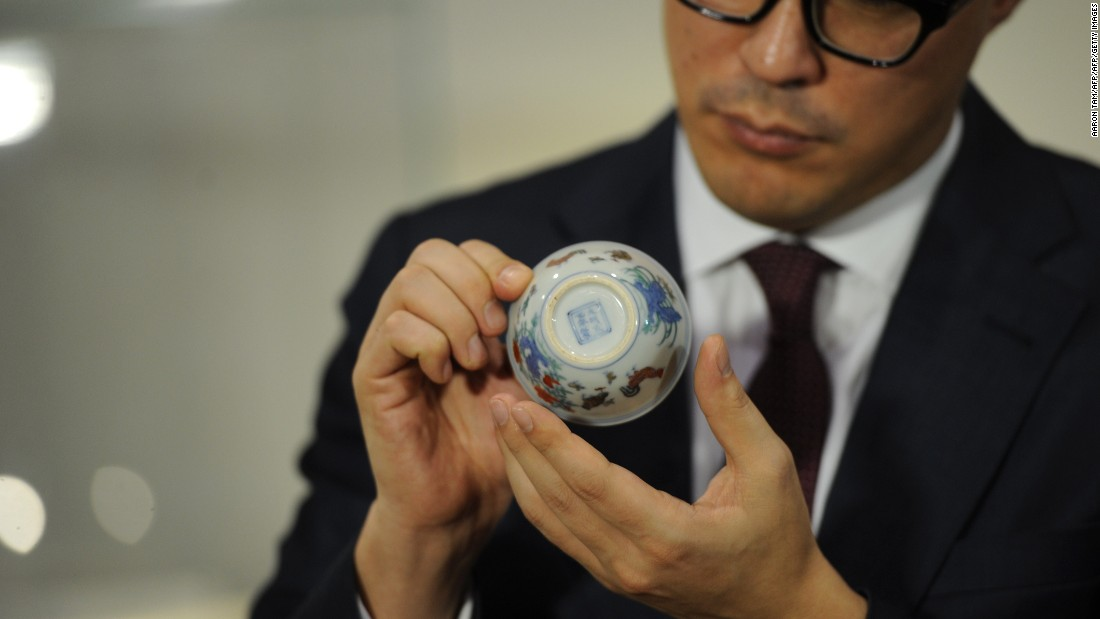 """For anyone who is not in the field of Chinese ceramics it's a little bit of a downer when you see it,"" says Nicolas Chow, chairman of Chinese works of art at Sotheby's Asia. <br /><br />The cup gets its name from the delicate chickens painted in bright enamels on the cup's side. ""But this is about the most sought after piece in the history of Chinese porcelain."""