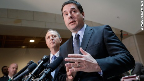 House Intelligence Committee Chairman Rep. Devin Nunes, R-Calif., right, accompanied by the committee's ranking member, Rep. Adam Schiff, D-Calif., talks to reporters, on Capitol Hill in Washington, Wednesday, March, 15, 2017, about their investigation of Russian influence on the American presidential election. Both lawmakers said they have no evidence to back up President Trump's claim that former President Barack Obama wiretapped Trump Plaza during the 2016 campaign. (AP Photo/J. Scott Applewhite)