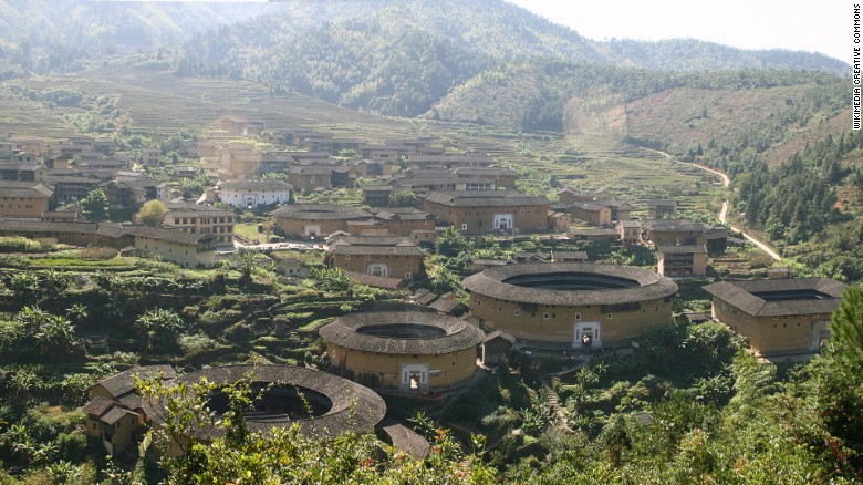 """Most tulou buildings are circular or square shaped, but """"there are other special shapes, such as oblongs -- it just depends on the landscape,"""" according to architecture student Lin Weicheng, who has worked on tulou restoration.<br />"""