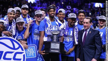 The Duke Blue Devils celebrate after winning the 2017 ACC tournament title over the Notre Dame Fighting Irish on Saturday at the Barclays Center in the Brooklyn borough of New York City.