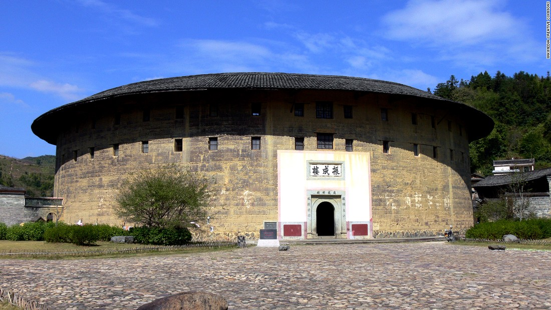 Tulou walls were thick -- sometimes over a meter in width -- and built using a mixture of clays.<br />