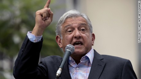 Mexican former presidential candidate and leader of the MORENA movement, Andres Manuel Lopez Obrador, delivers a speech against the energetic reform proposed by Mexican President Enrique Pena Nieto, during a rally along Juarez Avenue in Mexico City, on September 8, 2013.   AFP PHOTO/ Yuri CORTEZ        (Photo credit should read YURI CORTEZ/AFP/Getty Images)