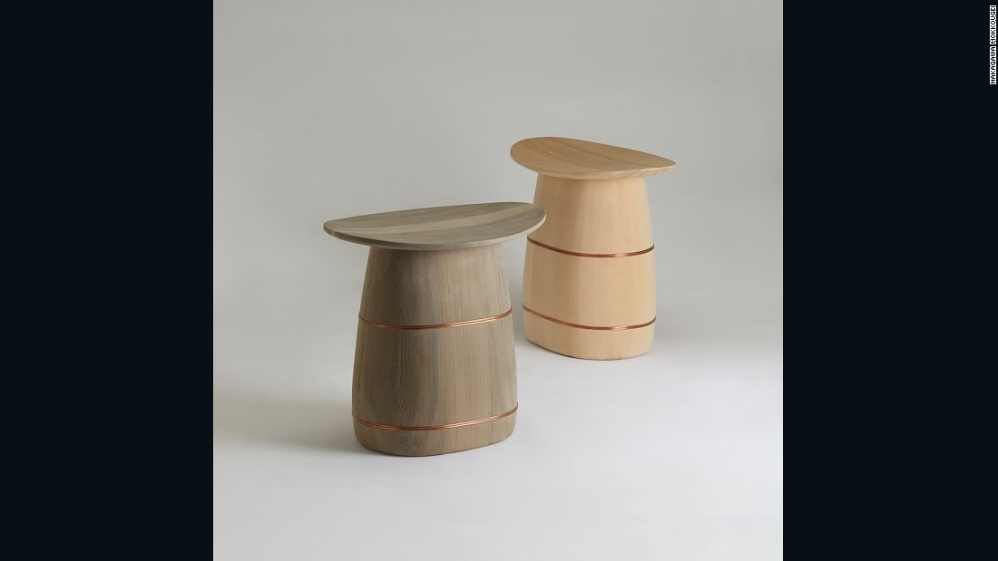 "Nakagawa collaborated with Danish design studio <a href=""http://www.oeo.dk/"" target=""_blank"">OeO</a> to produce these wooden stools, inspired by the lines and craftsmanship of the oke items."