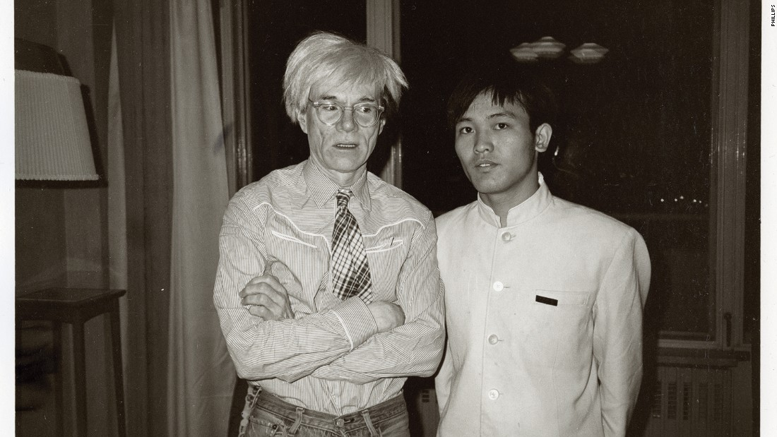 "This image of Warhol posing with a bellboy was likely taken in Beijing's Peking Hotel. Over 200 personal photos from Warhol's 1982 visit to China will go under the hammer at a <a href=""https://www.phillips.com/auctions/auction/HK010317"" target=""_blank"">Phillips auction</a> at the <a href=""http://www.mandarinoriental.com/hongkong/"" target=""_blank"">Mandarin Oriental </a>in Hong Kong on May 28."