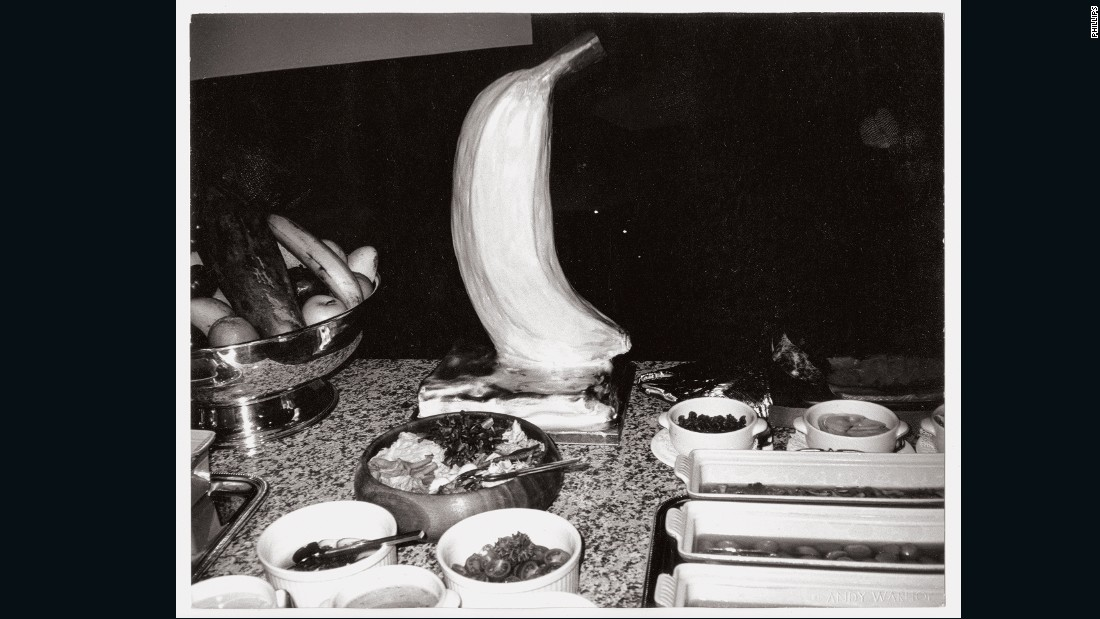 "No stranger to using bananas in his artwork, Warhol captured this iced fruit item during a buffet meal. Curator Jeffrey Dietsch, who was on the trip, said: ""The food was superb but Andy was not a foodie... he was more interested in the experience."""