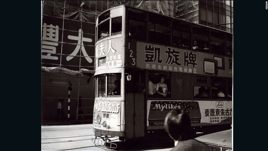 "This Hong Kong tram was originally mistakenly marked up as a ""bus"" by Warhol, when he titled it Double Decker Bus."